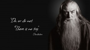 """Do or Do Not, There is No Try"" - Dumbledore as Gandalf in Lord of the Rings"
