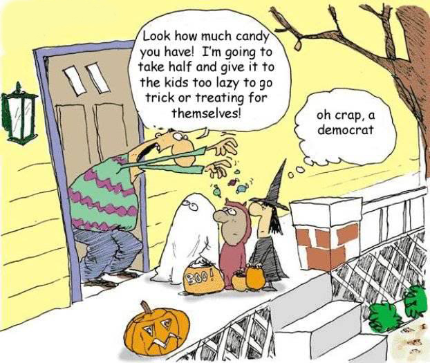 Political cartoon of redistribution of candy at Halloween