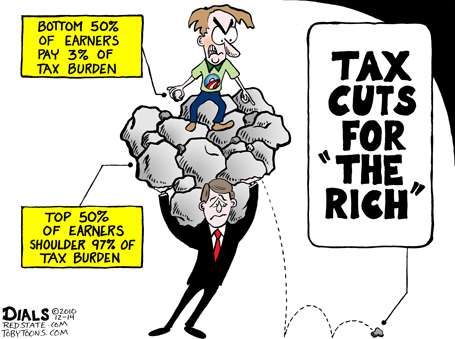 political satire cartoon about tax cuts for the rich