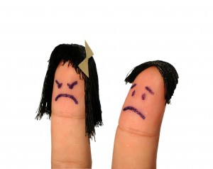 Finger faces: angry woman, sad man