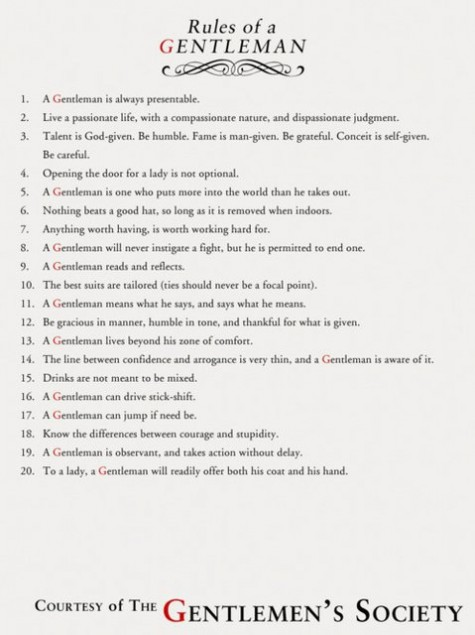 A copy of 20 Rules of a Gentleman